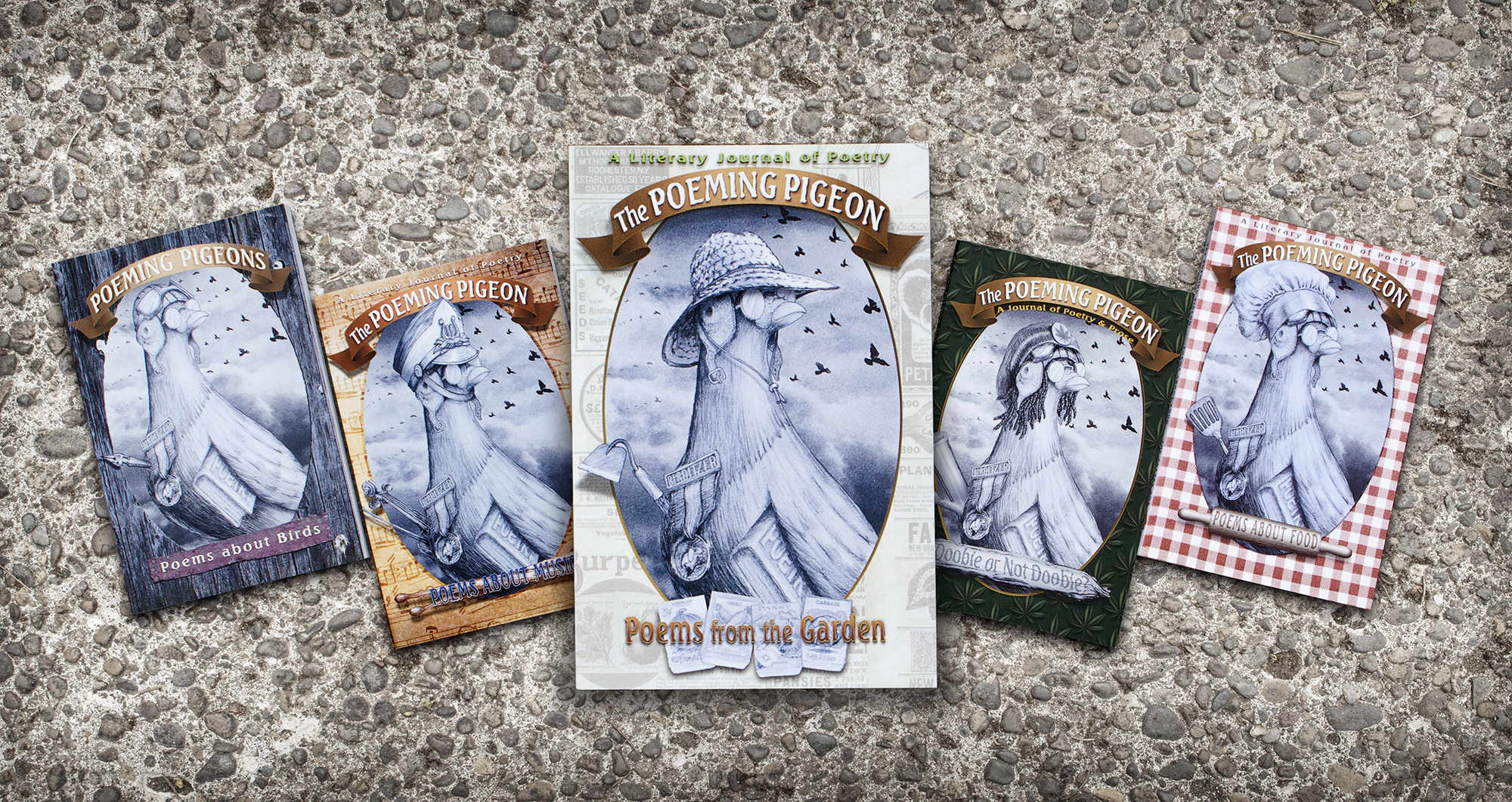 First 5 issues of The Poeming Pigeon