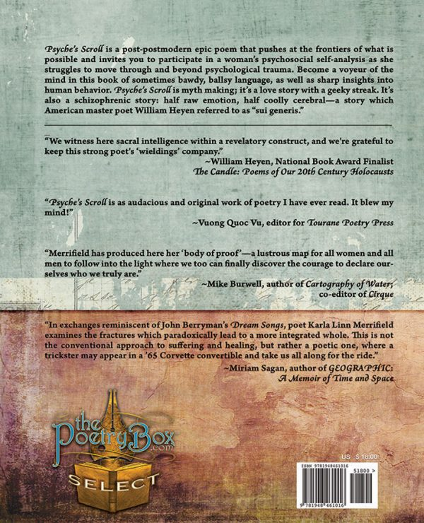 Back Book Cover Psyche's Scroll by Karla Linn Merrifield, The Poetry Box Select