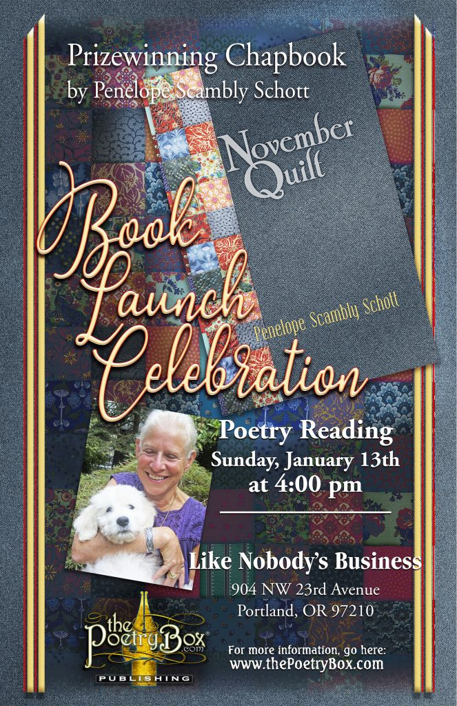 event poster for Penelope's book luanch