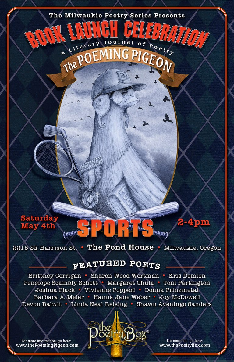 The Poeming Pigeon: Sports Book Launch Celebration Poster