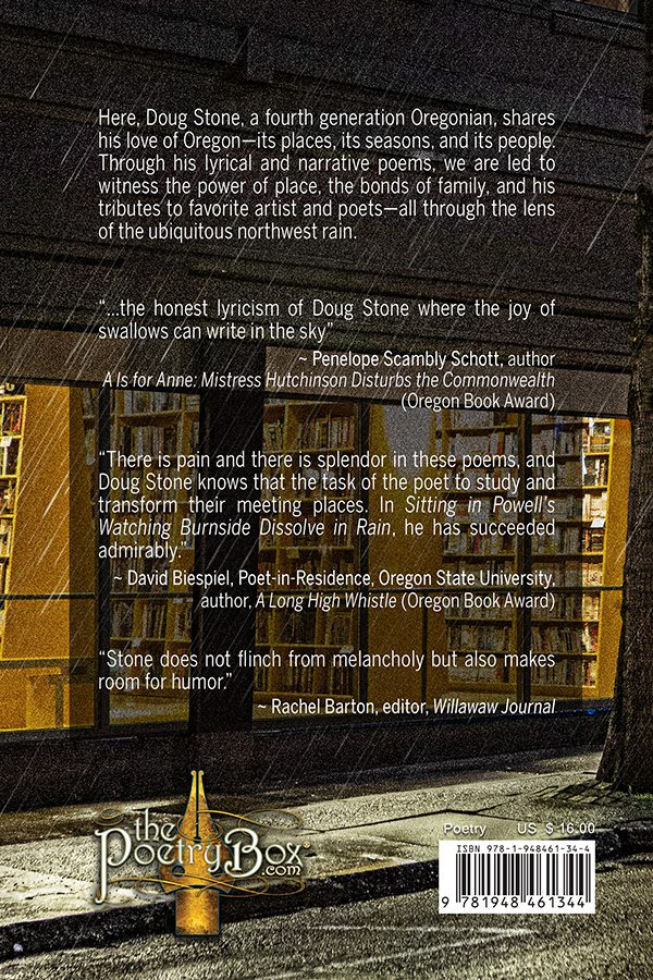 Back Cover of Sitting in Powell's Watching Burnside Dissolve in Rain, cover art by Robert R. Sanders