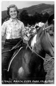 photo of Tricia Knoll on horseback as a young girl